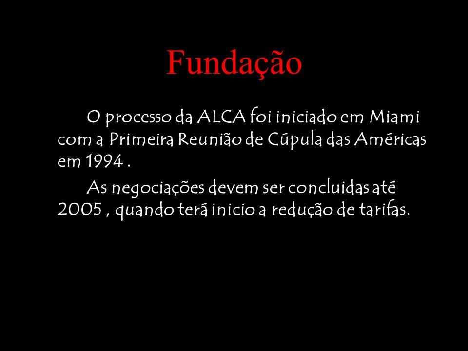 FundaçãoO processo da ALCA foi iniciado em Miami com a Primeira Reunião de Cúpula das Américas em 1994 .