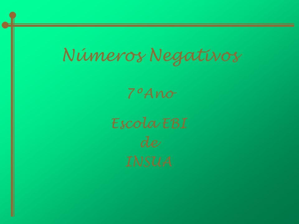 Números Negativos 7ºAno Escola EBI de INSUA
