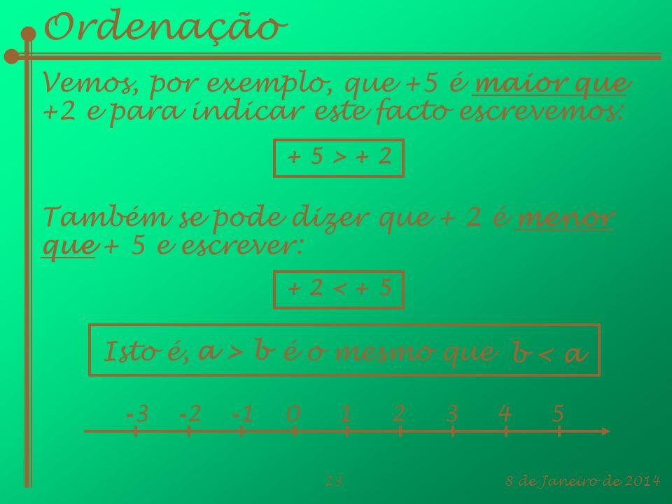 Ordenação Vemos, por exemplo, que +5 é maior que +2 e para indicar este facto escrevemos: + 5 > + 2.