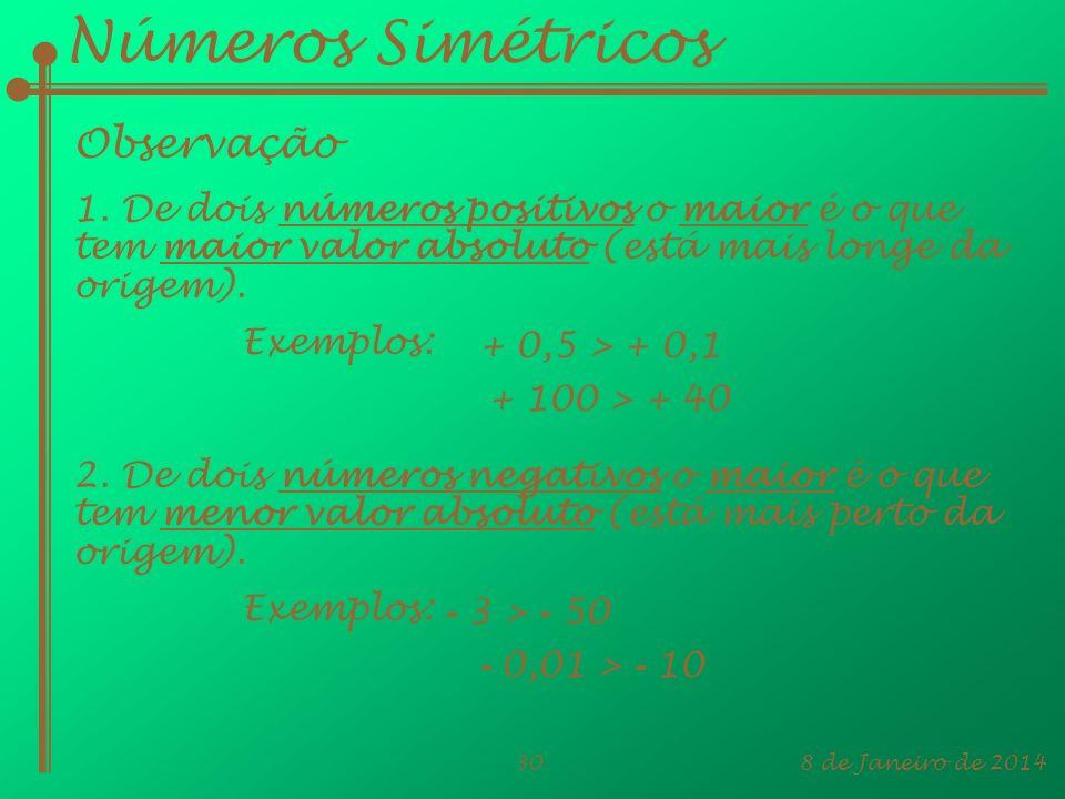 Números Simétricos Observação