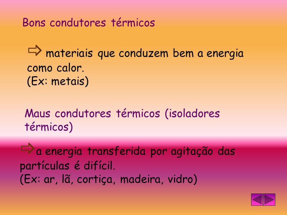  materiais que conduzem bem a energia como calor.