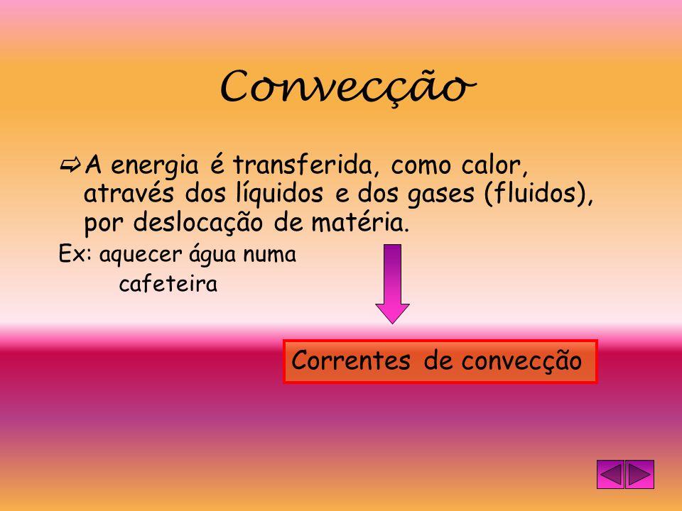 Convecção A energia é transferida, como calor, através dos líquidos e dos gases (fluidos), por deslocação de matéria.