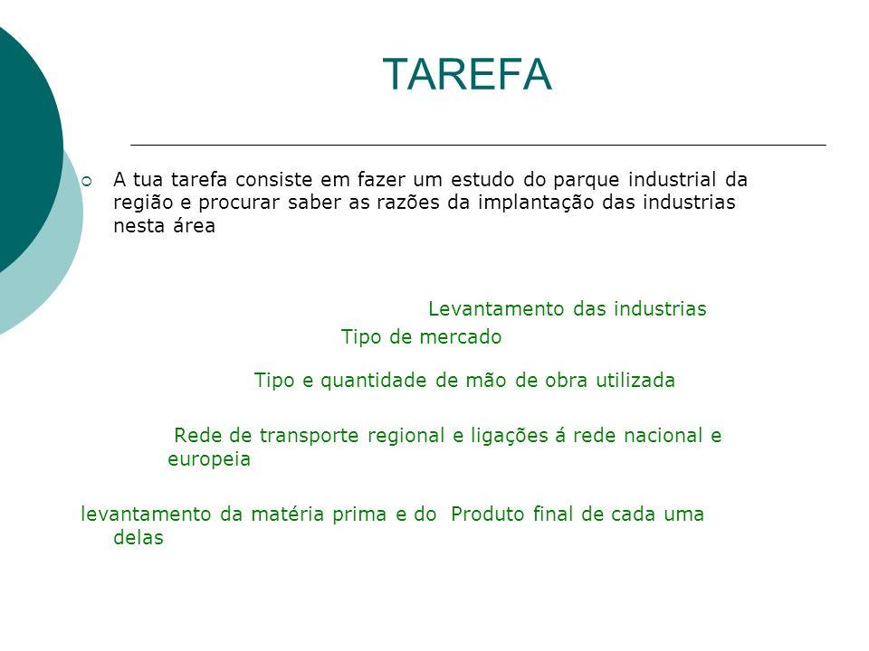 TAREFAA tua tarefa consiste em fazer um estudo do parque industrial da região e procurar saber as razões da implantação das industrias nesta área.