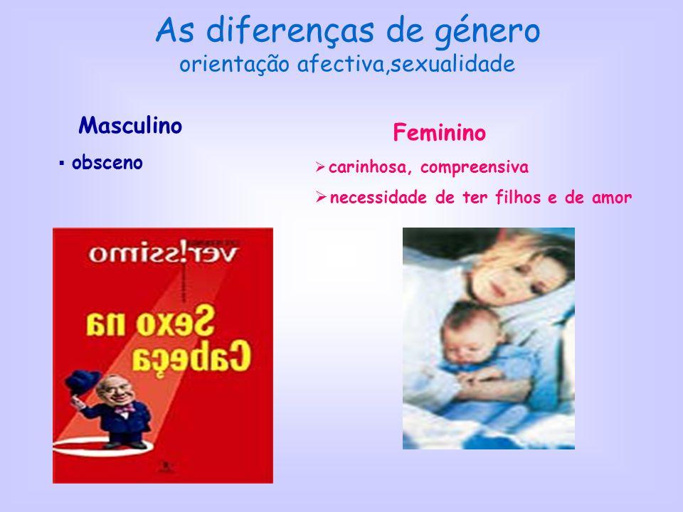 As diferenças de género orientação afectiva,sexualidade