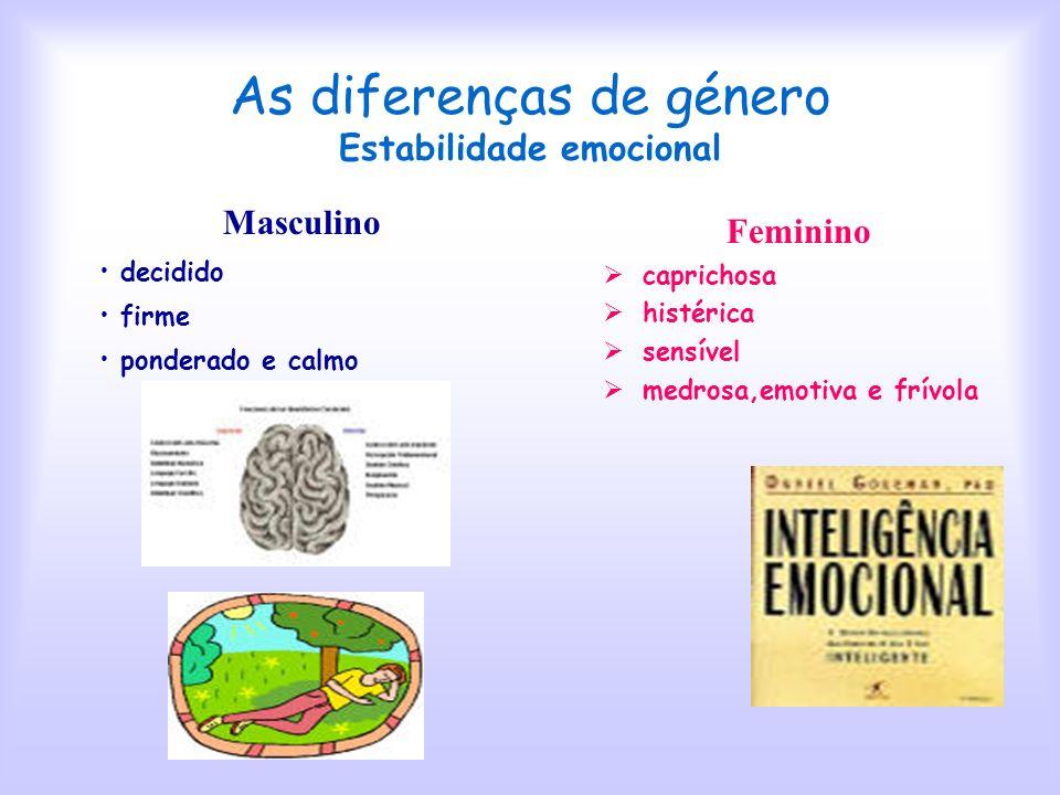 As diferenças de género Estabilidade emocional