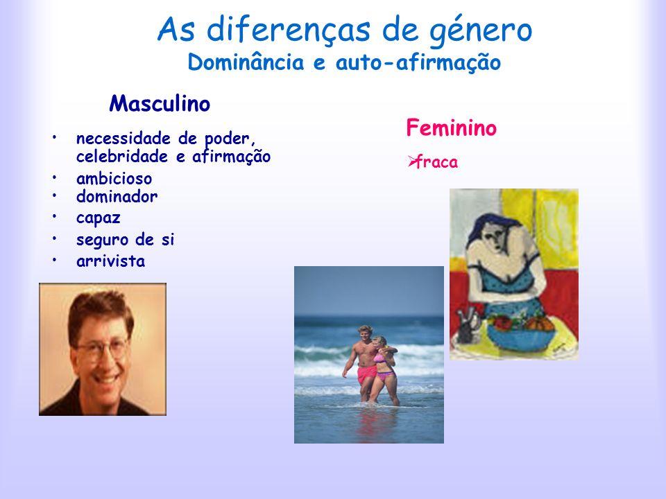 As diferenças de género Dominância e auto-afirmação
