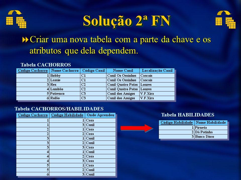 Solução 2ª FN Criar uma nova tabela com a parte da chave e os atributos que dela dependem. Tabela CACHORROS.