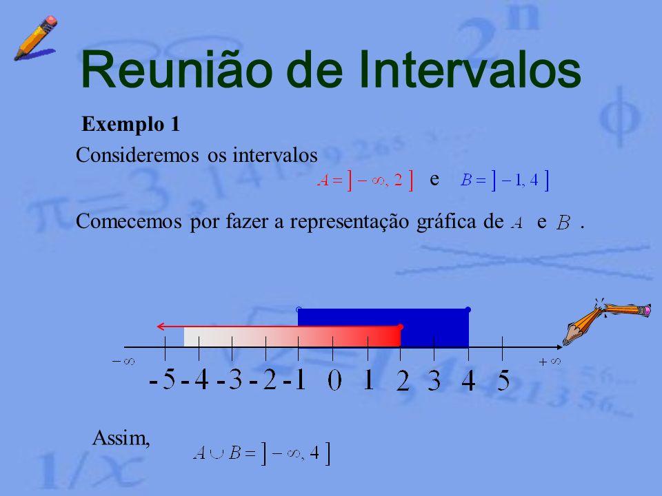 Reunião de Intervalos Exemplo 1 Consideremos os intervalos e