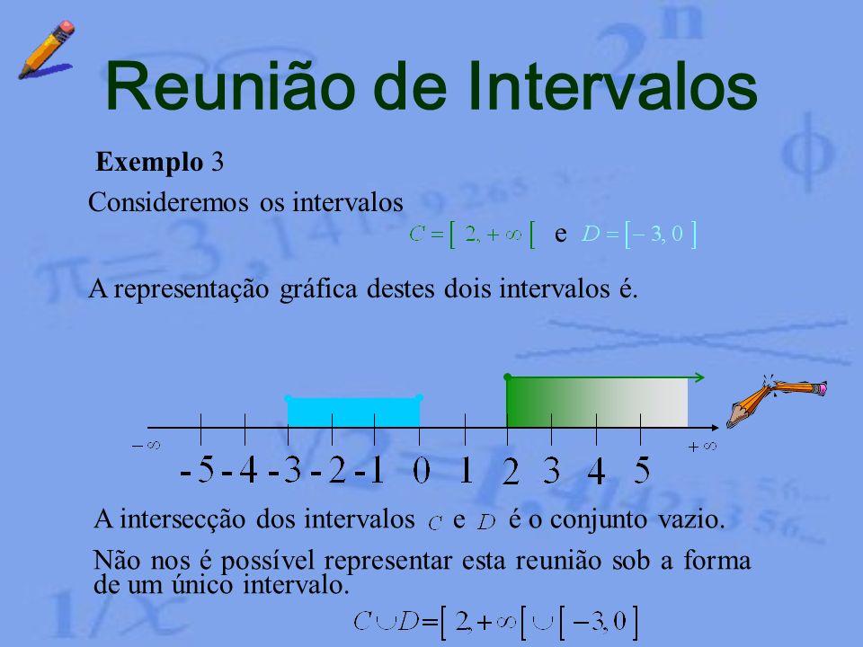 Reunião de Intervalos Exemplo 3 Consideremos os intervalos e