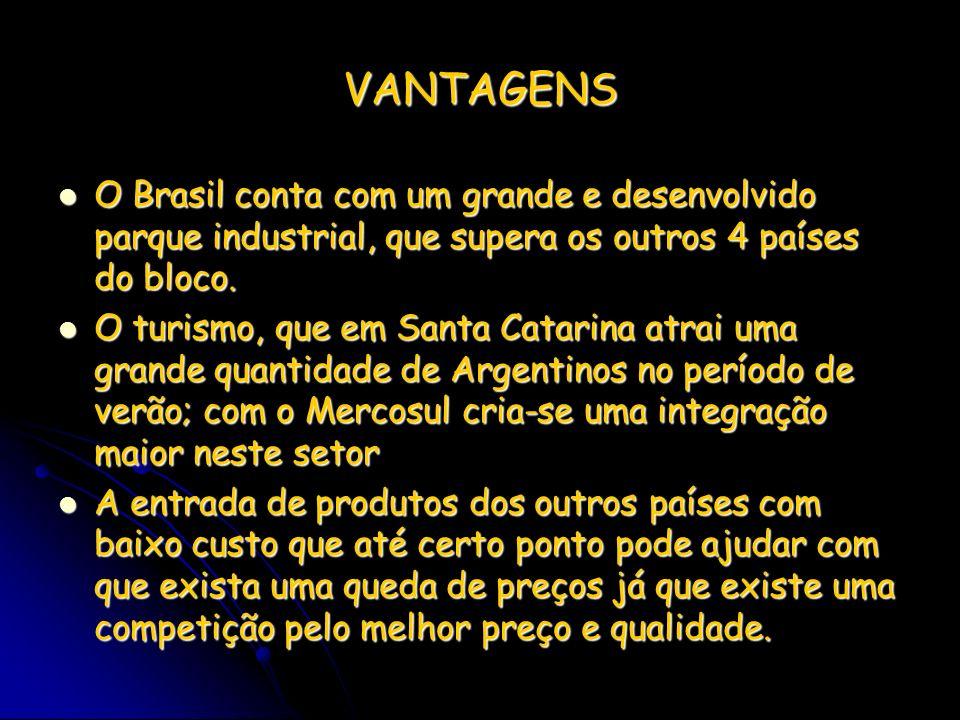 VANTAGENS O Brasil conta com um grande e desenvolvido parque industrial, que supera os outros 4 países do bloco.
