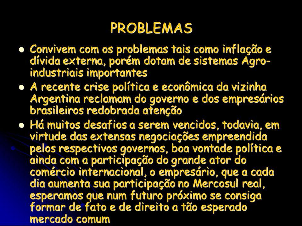 PROBLEMAS Convivem com os problemas tais como inflação e dívida externa, porém dotam de sistemas Agro- industriais importantes.
