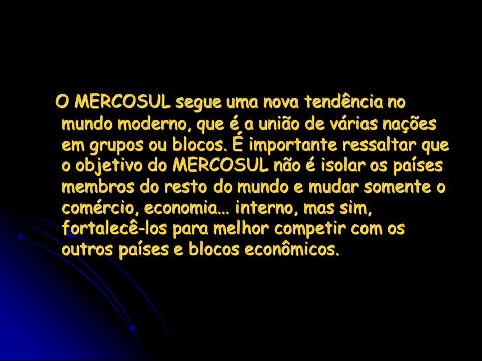 O MERCOSUL segue uma nova tendência no mundo moderno, que é a união de várias nações em grupos ou blocos.