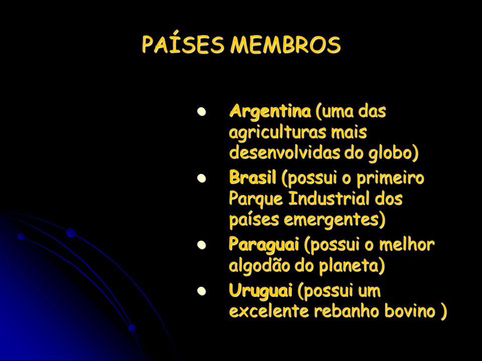 PAÍSES MEMBROS Argentina (uma das agriculturas mais desenvolvidas do globo) Brasil (possui o primeiro Parque Industrial dos países emergentes)