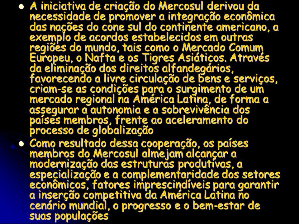 A iniciativa de criação do Mercosul derivou da necessidade de promover a integração econômica das nações do cone sul do continente americano, a exemplo de acordos estabelecidos em outras regiões do mundo, tais como o Mercado Comum Europeu, o Nafta e os Tigres Asiáticos. Através da eliminação dos direitos alfandegários, favorecendo a livre circulação de bens e serviços, criam-se as condições para o surgimento de um mercado regional na América Latina, de forma a assegurar a autonomia e a sobrevivência dos países membros, frente ao aceleramento do processo de globalização