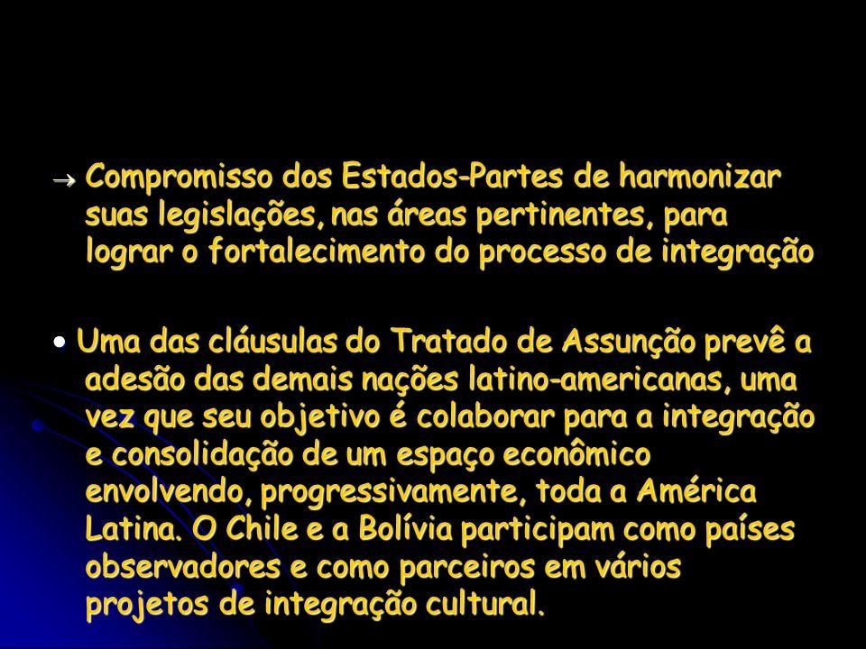 Compromisso dos Estados-Partes de harmonizar suas legislações, nas áreas pertinentes, para lograr o fortalecimento do processo de integração
