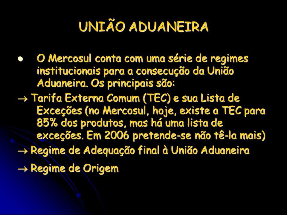 UNIÃO ADUANEIRA O Mercosul conta com uma série de regimes institucionais para a consecução da União Aduaneira. Os principais são: