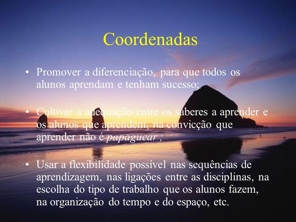 Coordenadas Promover a diferenciação, para que todos os alunos aprendam e tenham sucesso;