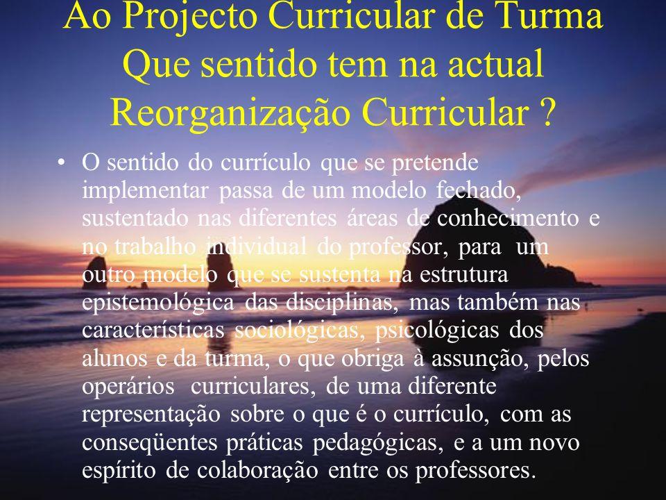 Ao Projecto Curricular de Turma Que sentido tem na actual Reorganização Curricular
