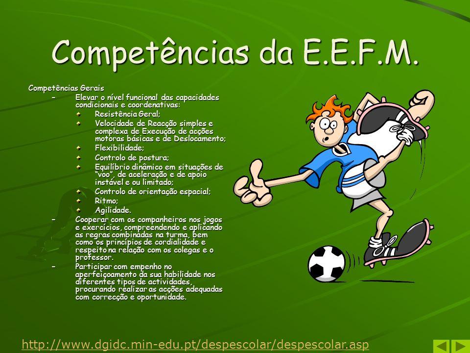 Competências da E.E.F.M.Competências Gerais. Elevar o nível funcional das capacidades condicionais e coordenativas: