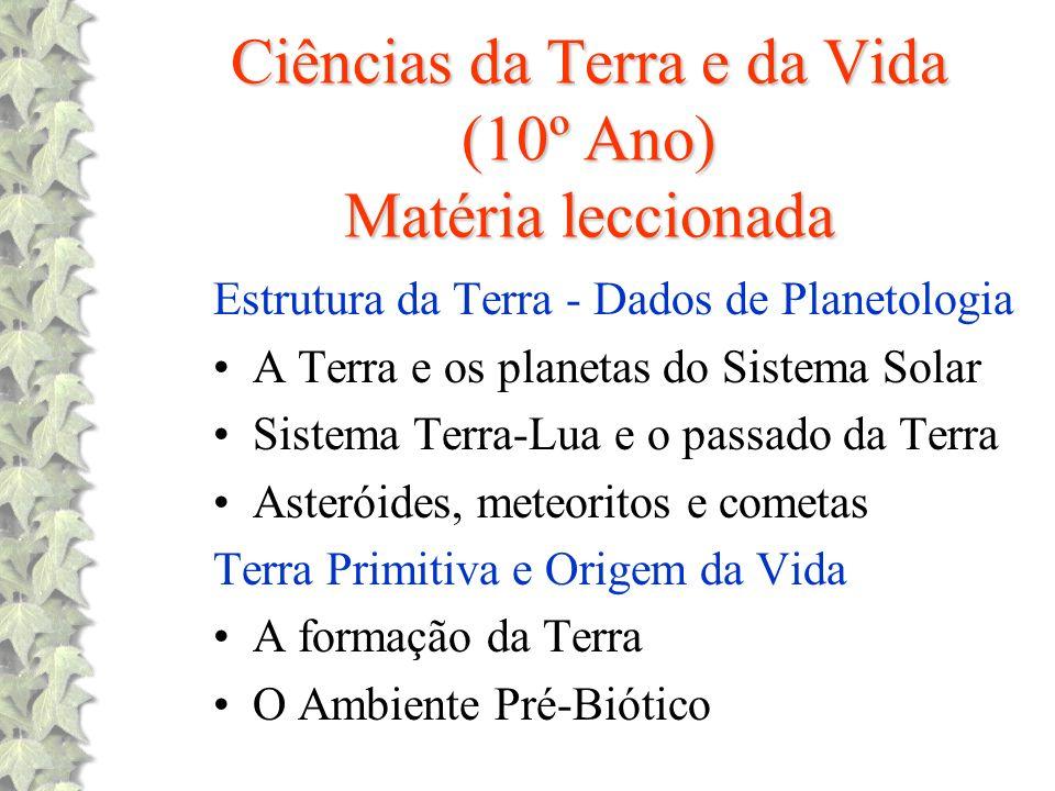 Ciências da Terra e da Vida (10º Ano) Matéria leccionada