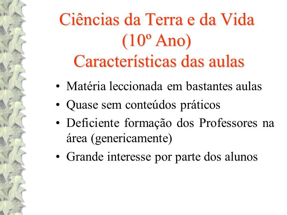 Ciências da Terra e da Vida (10º Ano) Características das aulas
