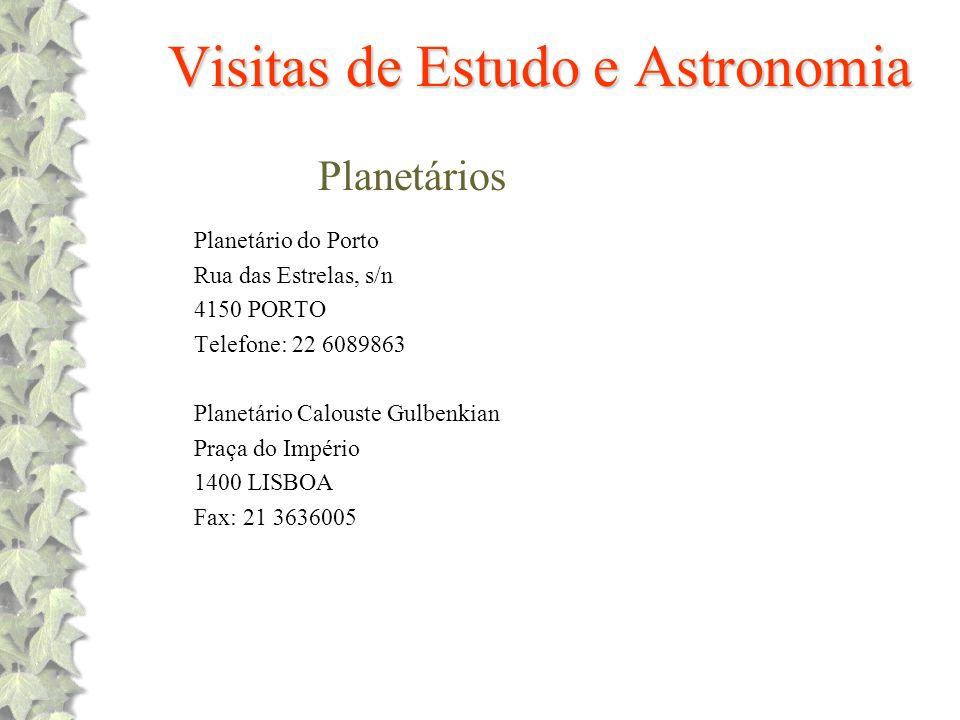 Visitas de Estudo e Astronomia