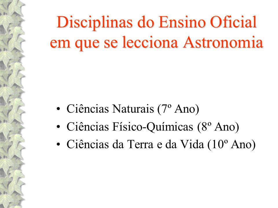 Disciplinas do Ensino Oficial em que se lecciona Astronomia