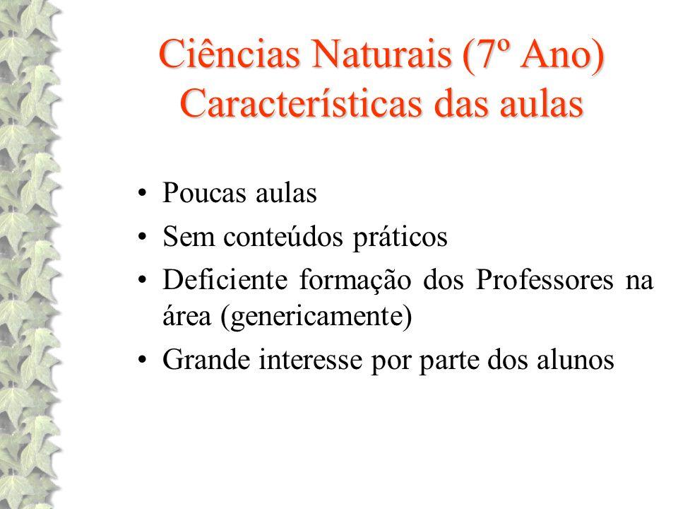 Ciências Naturais (7º Ano) Características das aulas
