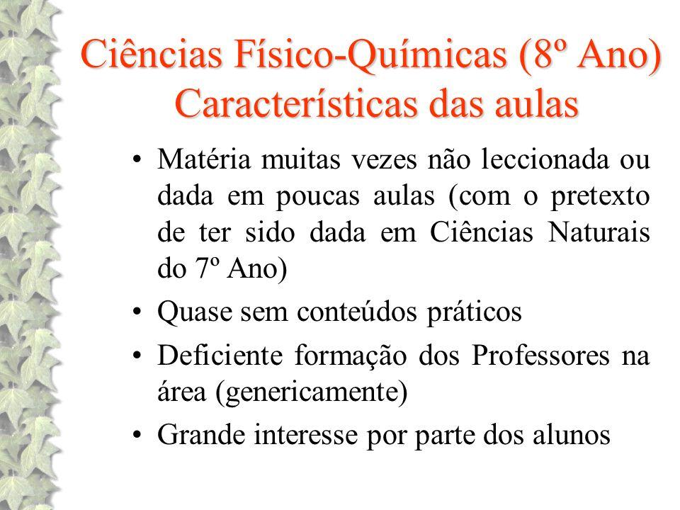Ciências Físico-Químicas (8º Ano) Características das aulas