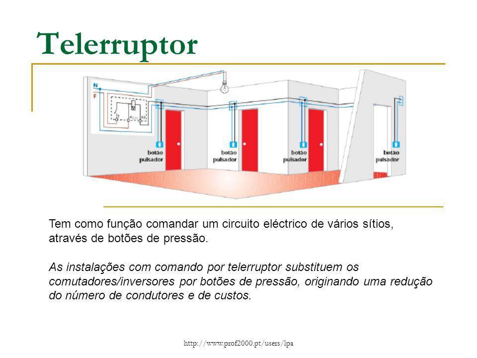 Telerruptor Tem como função comandar um circuito eléctrico de vários sítios, através de botões de pressão.