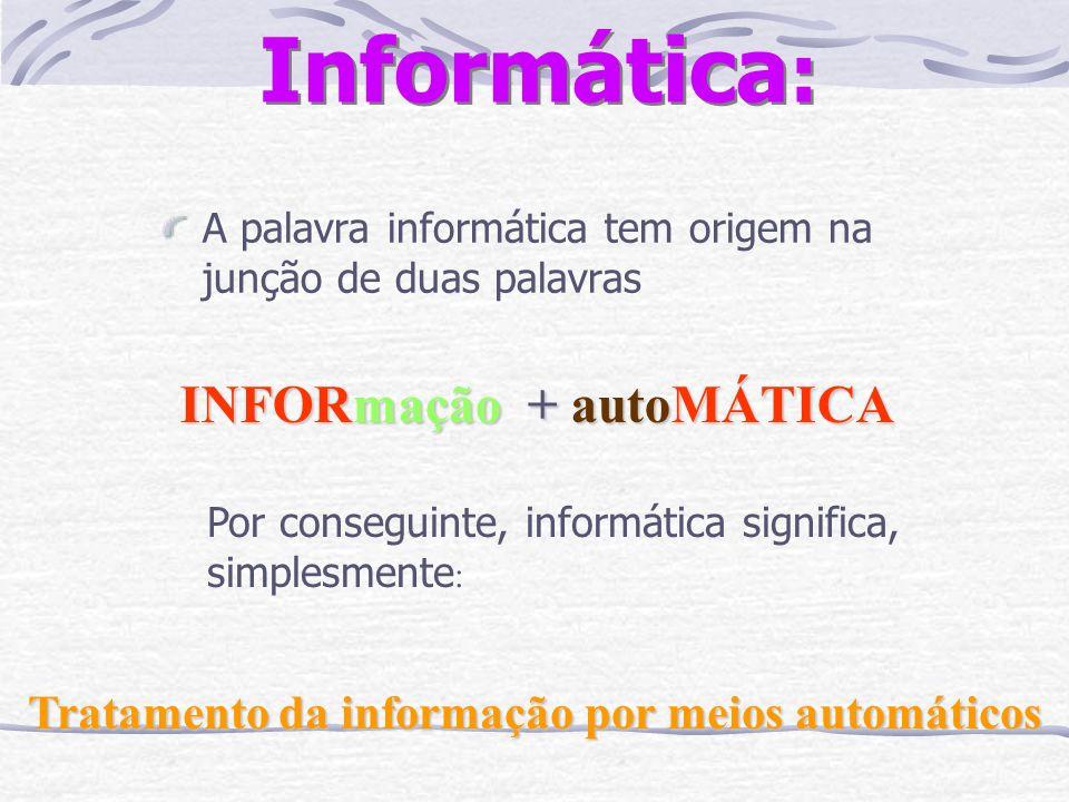 INFORmação + autoMÁTICA Tratamento da informação por meios automáticos
