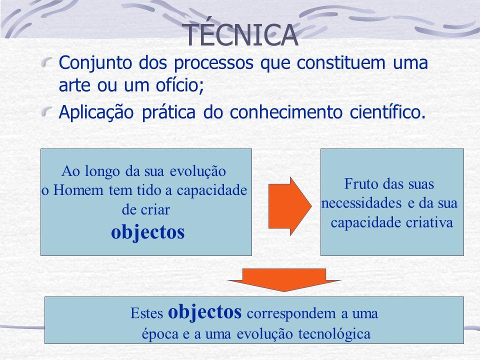TÉCNICA Conjunto dos processos que constituem uma arte ou um ofício;