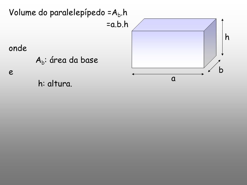 Volume do paralelepípedo =Ab.h