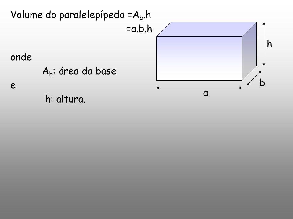 Volume do paralelepípedo =Ab.h