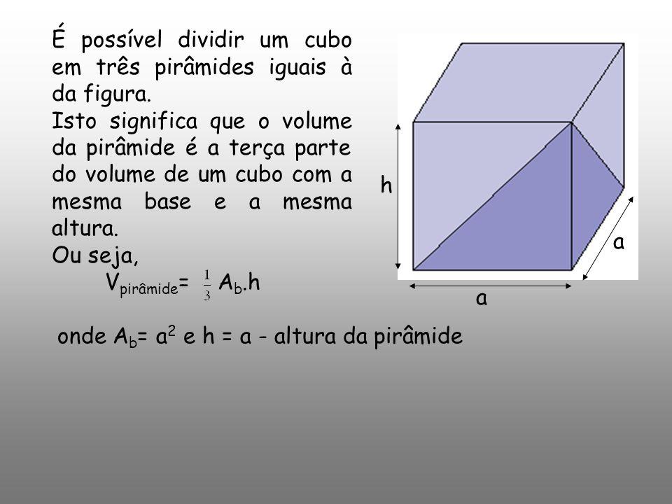 Vpirâmide= Ab.h onde Ab= a2 e h = a - altura da pirâmide