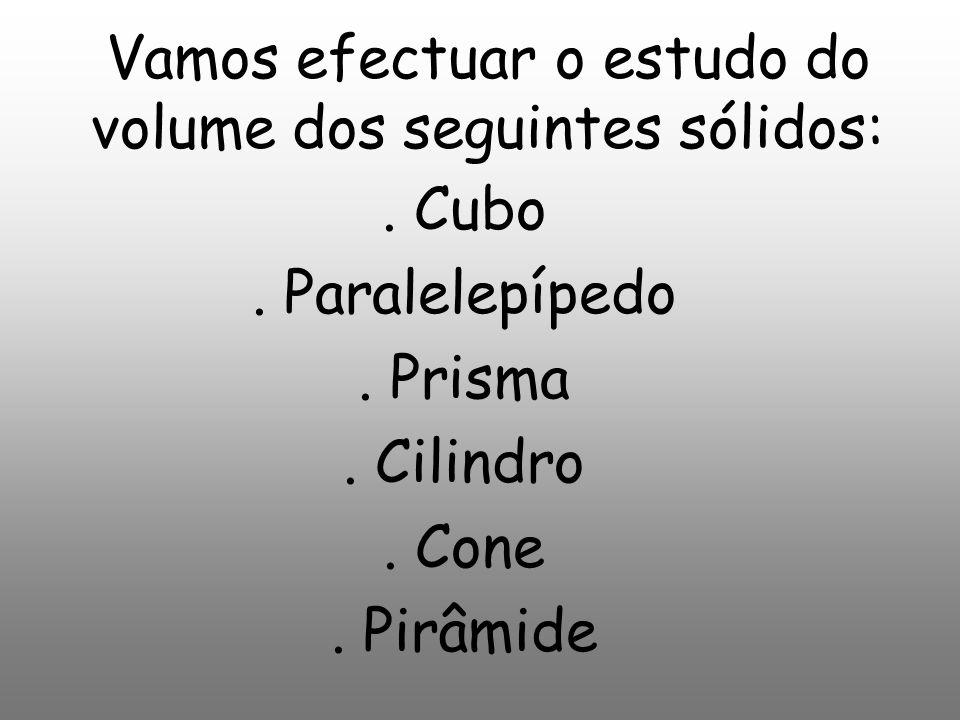 Vamos efectuar o estudo do volume dos seguintes sólidos: