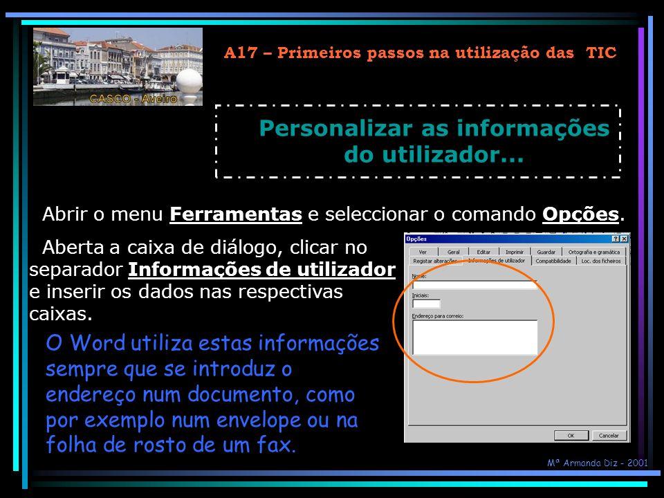 Personalizar as informações do utilizador...