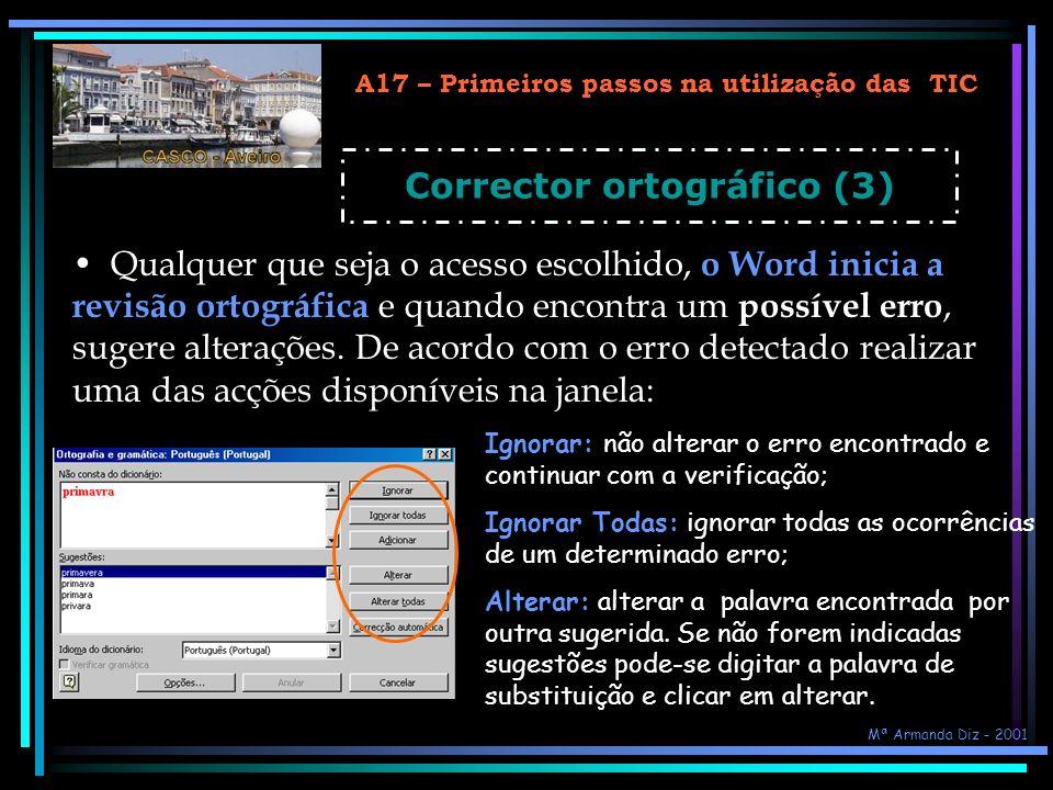 A17 – Primeiros passos na utilização das TIC Corrector ortográfico (3)