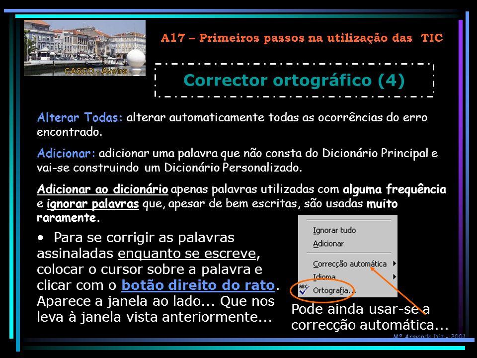 A17 – Primeiros passos na utilização das TIC Corrector ortográfico (4)