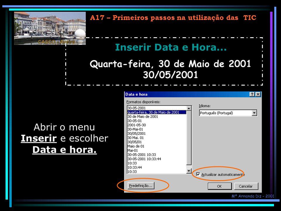 Quarta-feira, 30 de Maio de 2001 30/05/2001