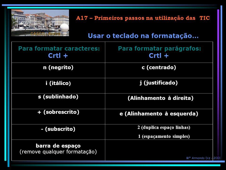 Usar o teclado na formatação… Crtl +