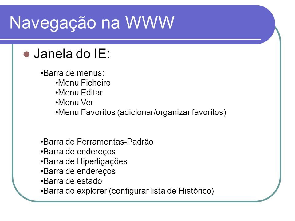 Navegação na WWW Janela do IE: Barra de menus: Menu Ficheiro