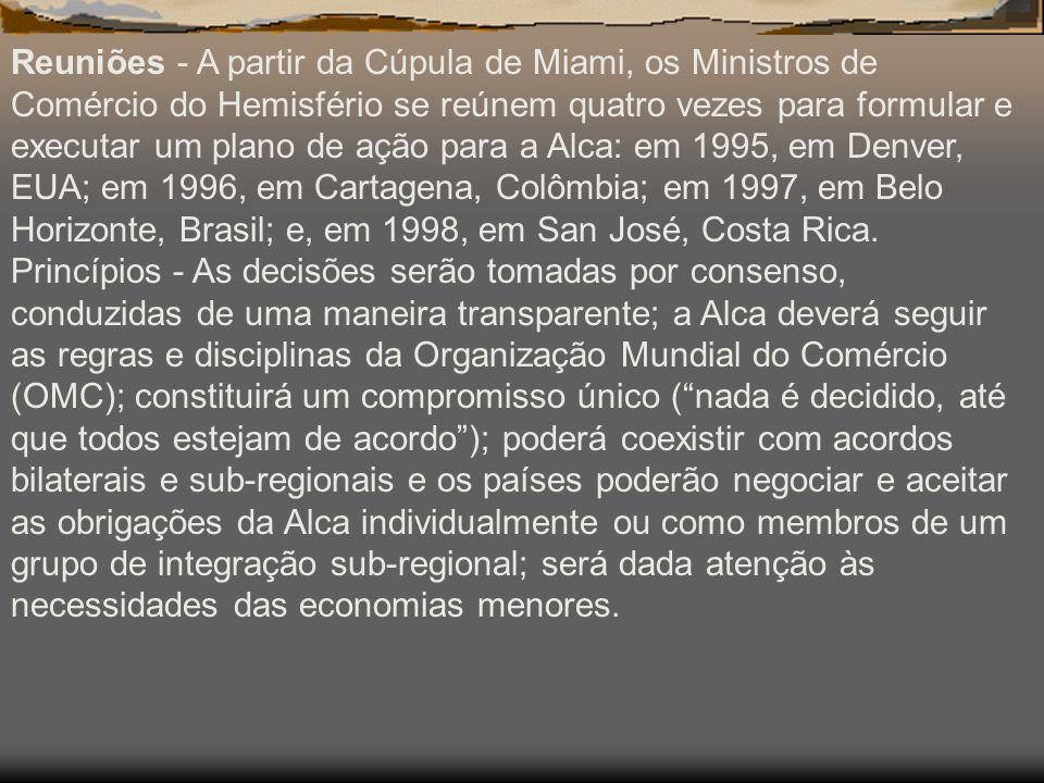 Reuniões - A partir da Cúpula de Miami, os Ministros de Comércio do Hemisfério se reúnem quatro vezes para formular e executar um plano de ação para a Alca: em 1995, em Denver, EUA; em 1996, em Cartagena, Colômbia; em 1997, em Belo Horizonte, Brasil; e, em 1998, em San José, Costa Rica.