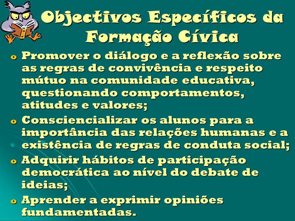 Objectivos Específicos da Formação Cívica