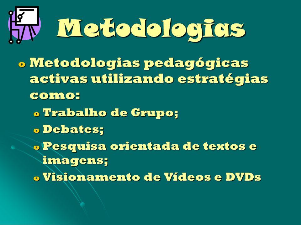 Metodologias Metodologias pedagógicas activas utilizando estratégias como: Trabalho de Grupo; Debates;