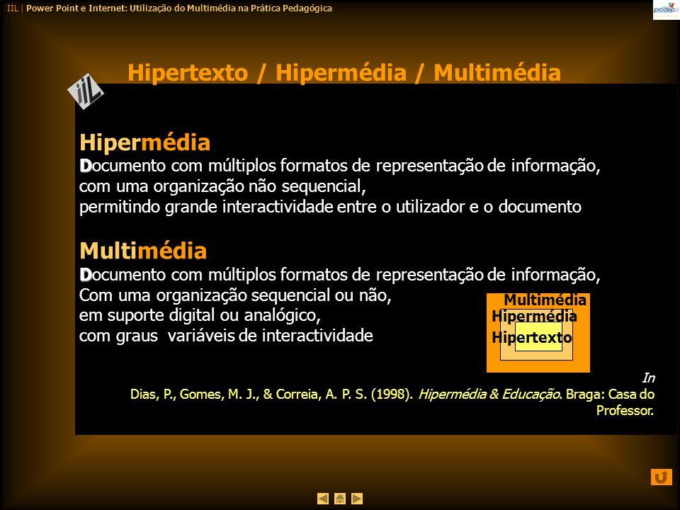 Hipertexto / Hipermédia / Multimédia