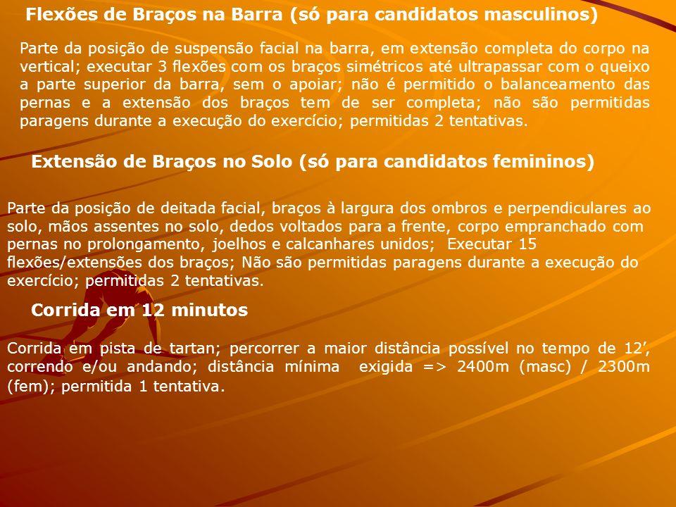 Flexões de Braços na Barra (só para candidatos masculinos)