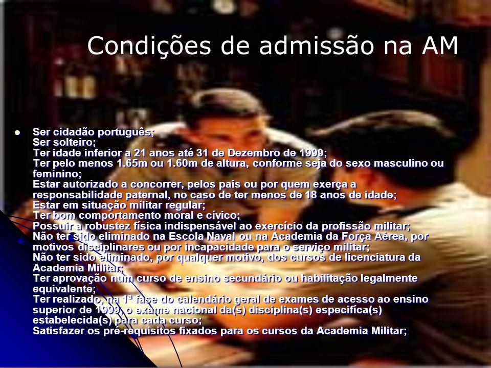 Condições de admissão na AM