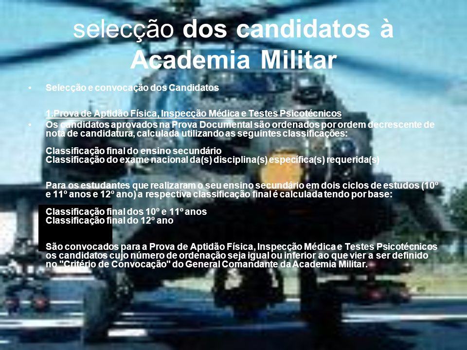 selecção dos candidatos à Academia Militar