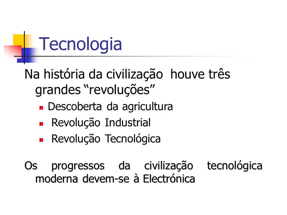 Tecnologia Na história da civilização houve três grandes revoluções